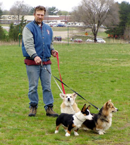 Bill with the pups in Mesick
